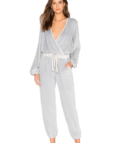 young fabulous and broke jumpsuit in gray velour