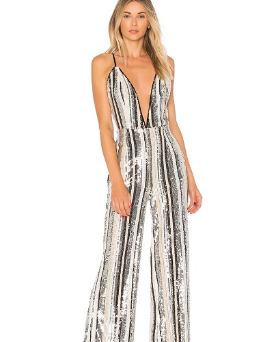 striped sequin jumpsuit with spaghetti straps
