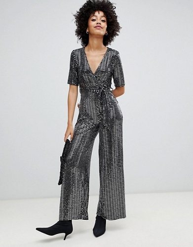 new look silver wrap jumpsuit from asos