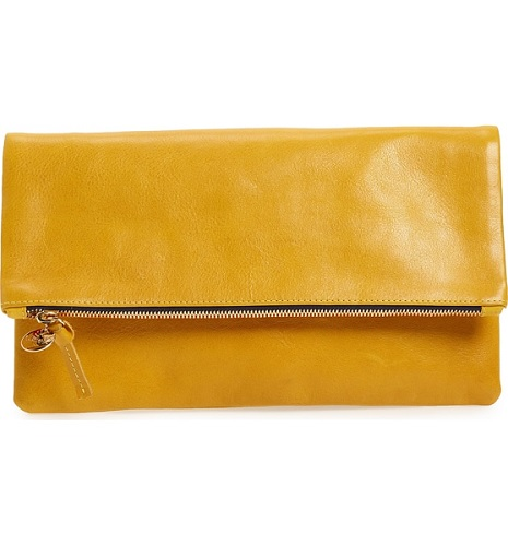 clare v foldover clutch in yellow