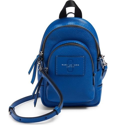 mini leather backpack in blue by marc jacobs