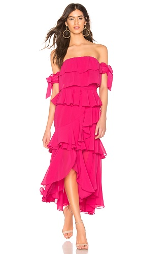 revolve tiered pink dress with ruffles oscars red carpet fashion trend