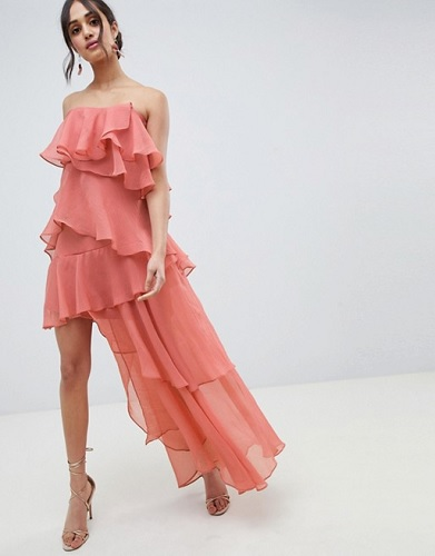 asos pink dress with ruffles oscars red carpet fashion