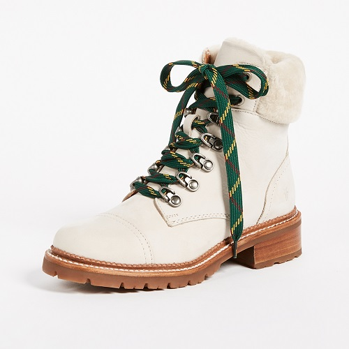 white hiking lace-up boots with plaid laces