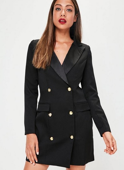 black tuxedo dress with button front