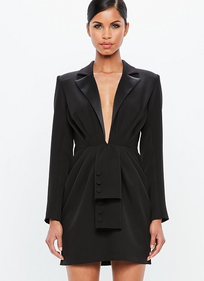 black tuxedo dress by missguided