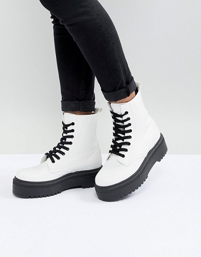 ASOS white combat boots with black laces