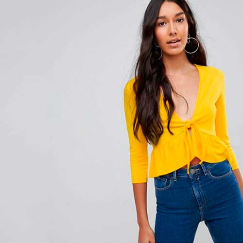 Asos Tall Top with Knot Front Ruffle