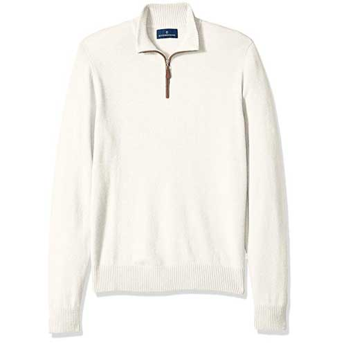 Buttoned Down Men's Cashmere Quarter-Zip Sweater in cream with leather trim
