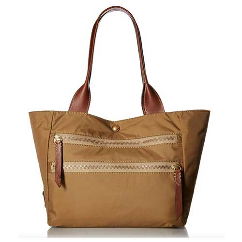 Fryeolive nylon tote with leather handle and two external zippers