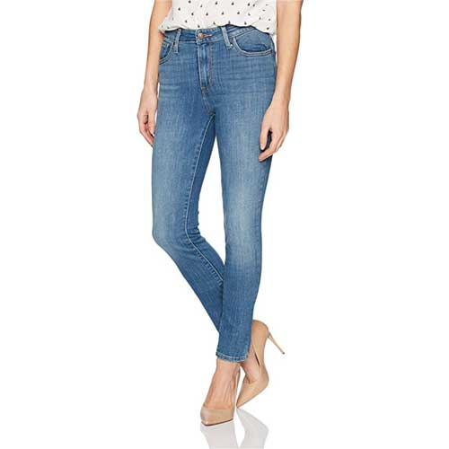 Levi's 721 high rise skinny jeans in distressed medium wash