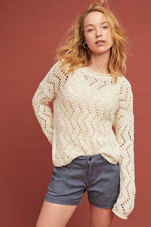 Anthropologie Sable Pointelle Pullover