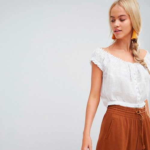 Free People Eyelet Top