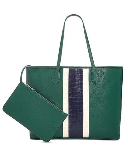 Steve Madden green tote with navy and white sport stripe