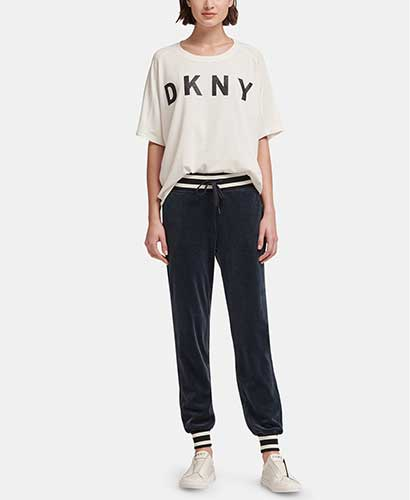 DKNY dark gray velour joggers with striped waistband and cuffs