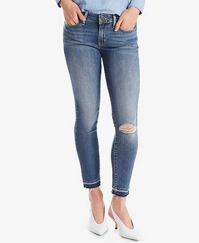 Levi's 711 distressed skinny jeans with released hem