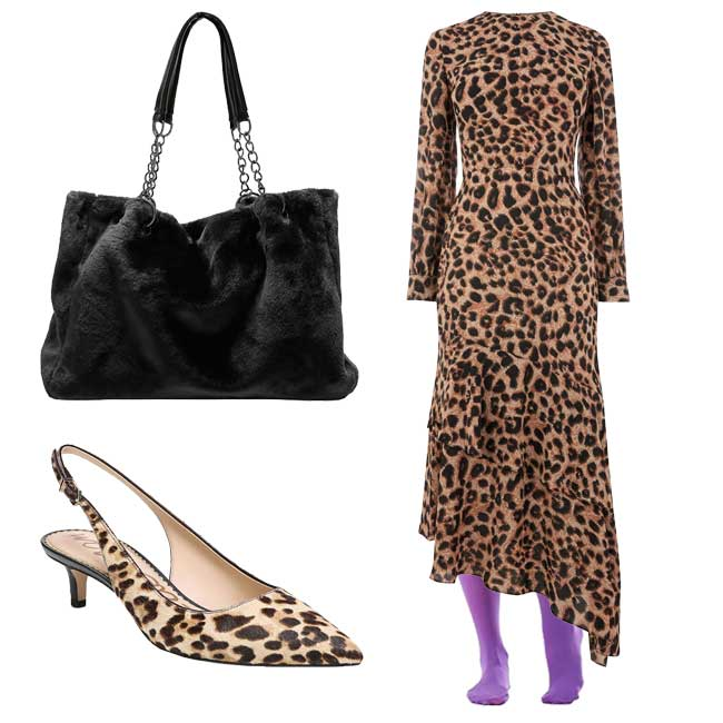 animal print dress with colorful ultra violet tights