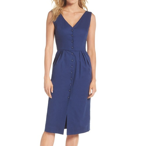 Gal Meets Glam Thelma Solid Button Front Sheath