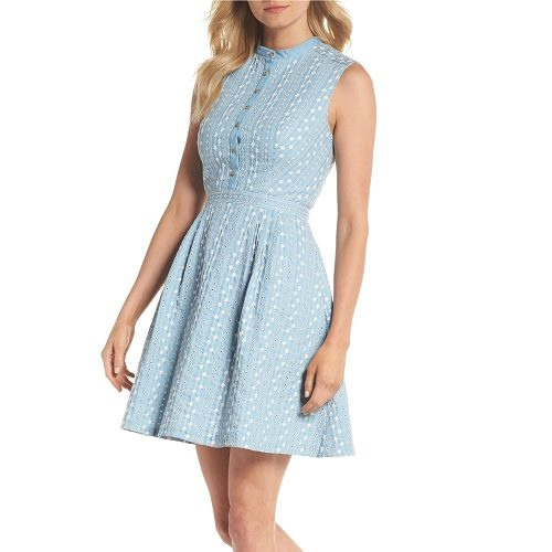 Gal Meets Glam Embroidered Chambray Fit & Flare Dress
