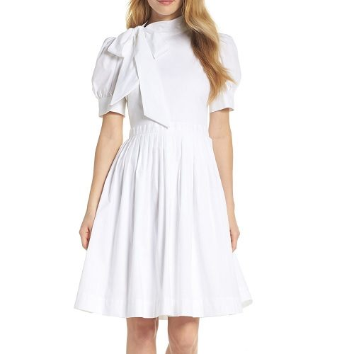Gal Meets Glam Hanna Puff Sleeve Cotton Poplin Dress