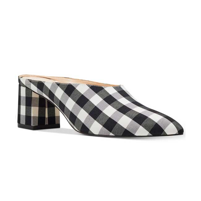 Nine West Gingham Helmer Mules