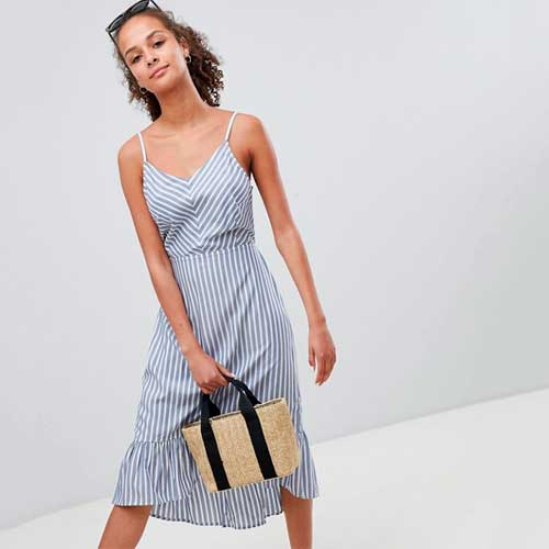 Only Stripe Midi Dress with Cutout Back Detail