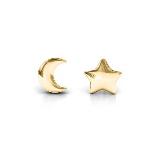 JEWLR Star and Moon Stud Earrings