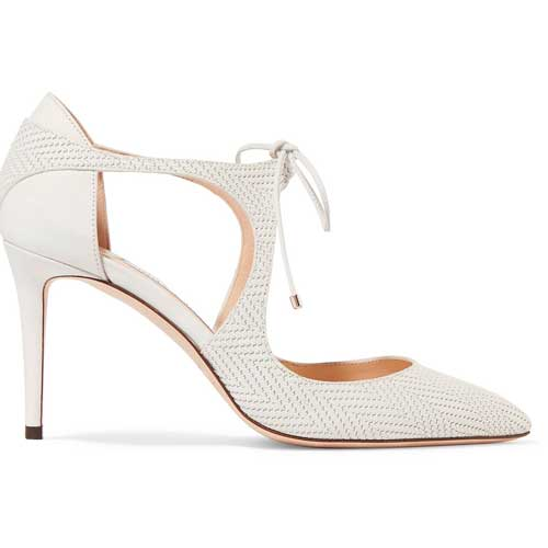 Jimmy Choo white leather pumps