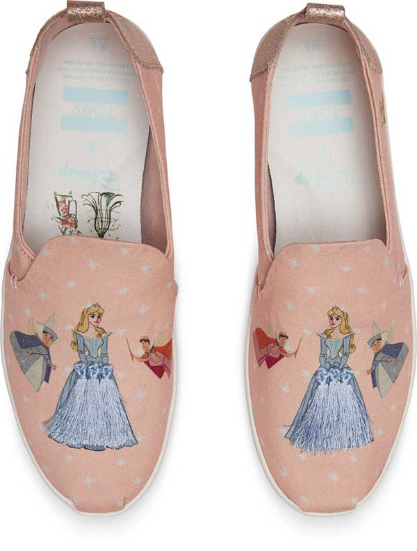 toms x disney sleeping beauty flats