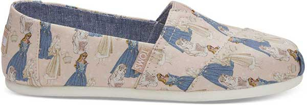 toms x disney sleeping beauty slip-ons