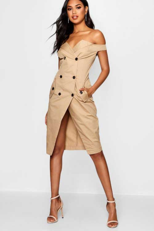 Boohoo off-the-shoulder trench dress