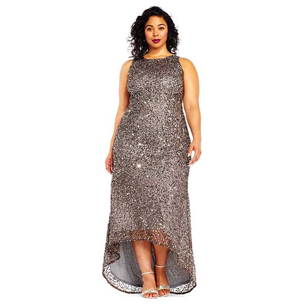 All over taupe sequin gown with high low hem.