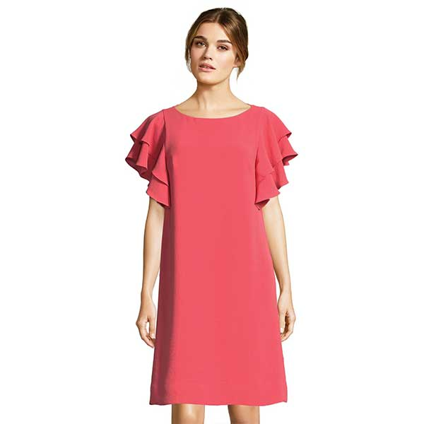 Coral, ruffle sleeved, mini dress.
