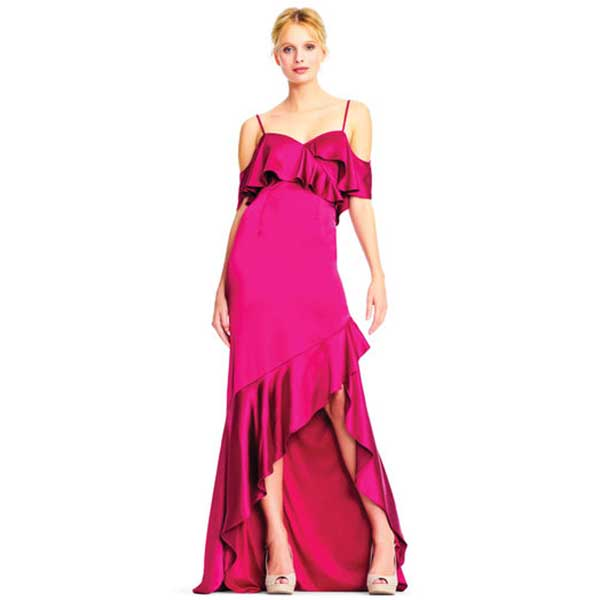 Magenta, cold shoulder, ruffled, high low dress.