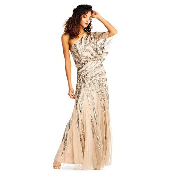 Sequined, one shoulder, maxi dress.