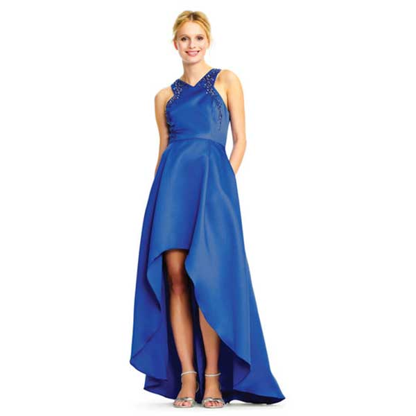 Bright blue, shiny high low dress with jeweled embellishment.