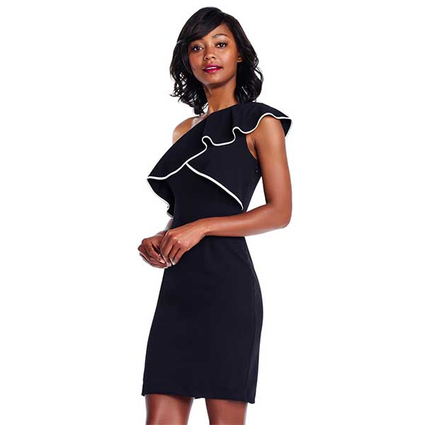 Black, ruffled, one shoulder dress with white piping.