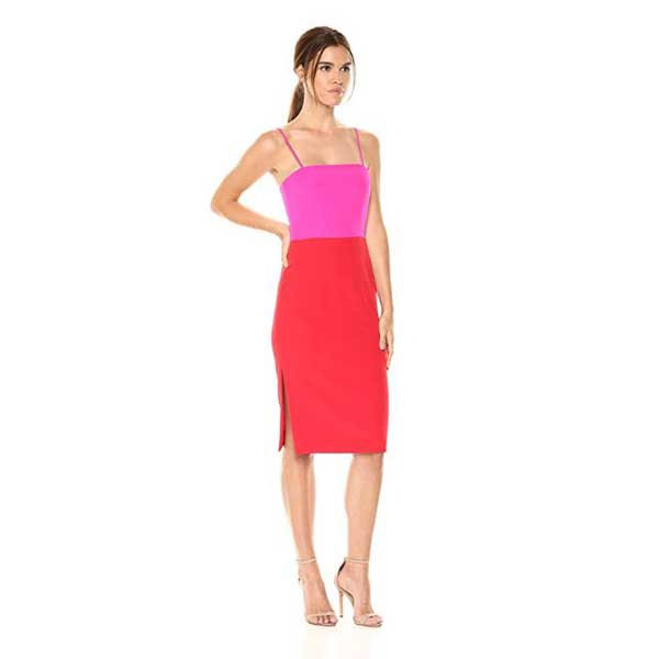 Red and pink color block dress.