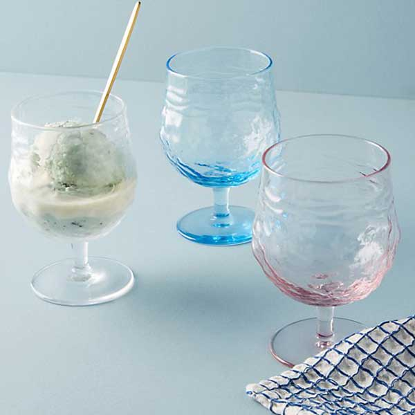 colored and textured wine glasses