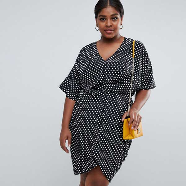 Black twist front dress with white polka dots