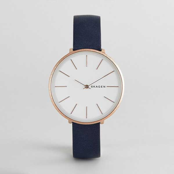 Blue leather strapped watch
