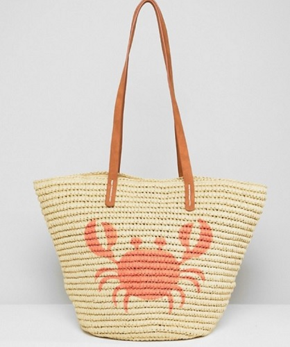crab printed straw bag with leather straps