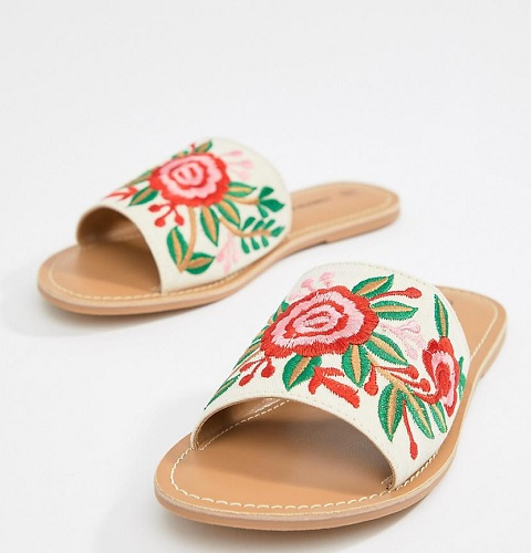 floral embroidered slides
