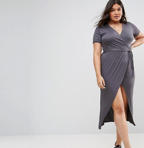 gray short sleeve plus size midi wrap dress
