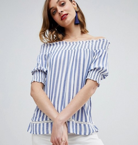 vertically striped blue off the shoulder short sleeve top