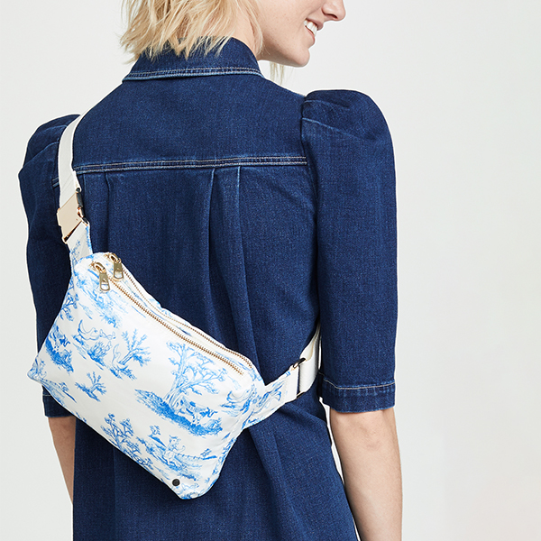 State blue and white toile belt bag