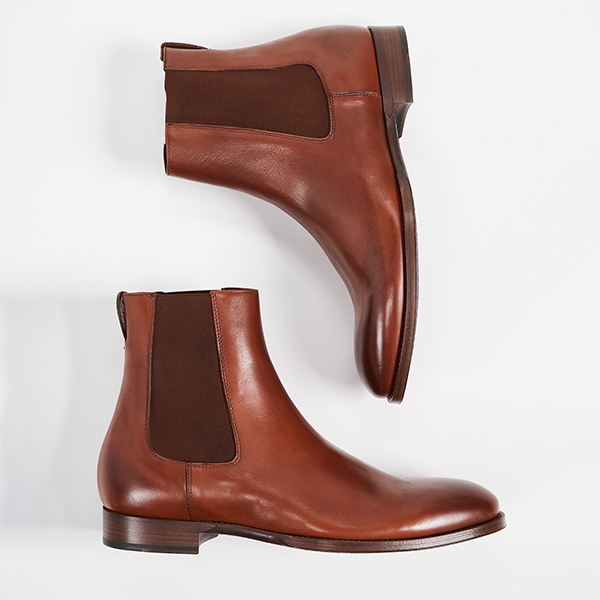Men's brown leather chelsea boots