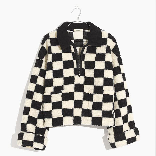 Black and white checkered, quarter zip, pullover