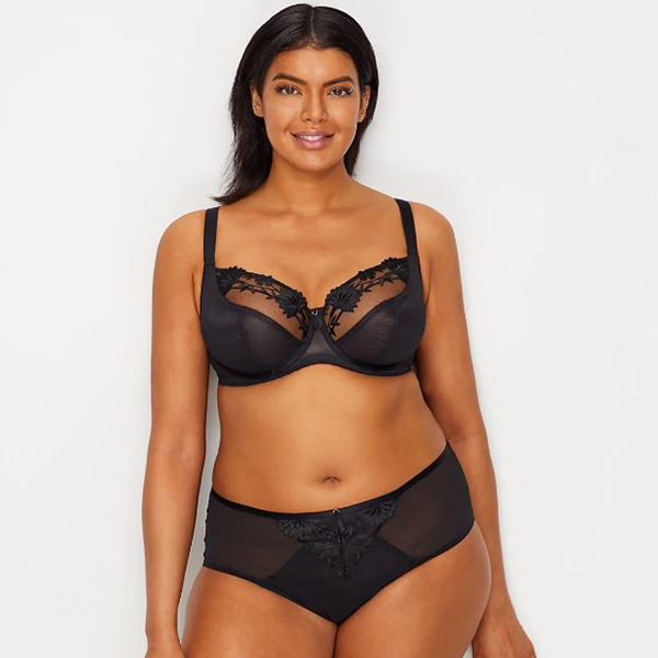 Model wearing black lace bra and brief matching set