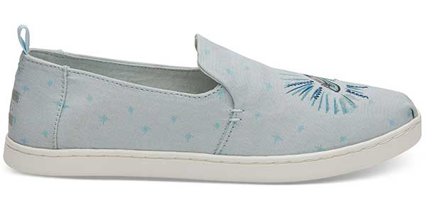 blue Cinderella glass slipper printed fabric TOMs shoe
